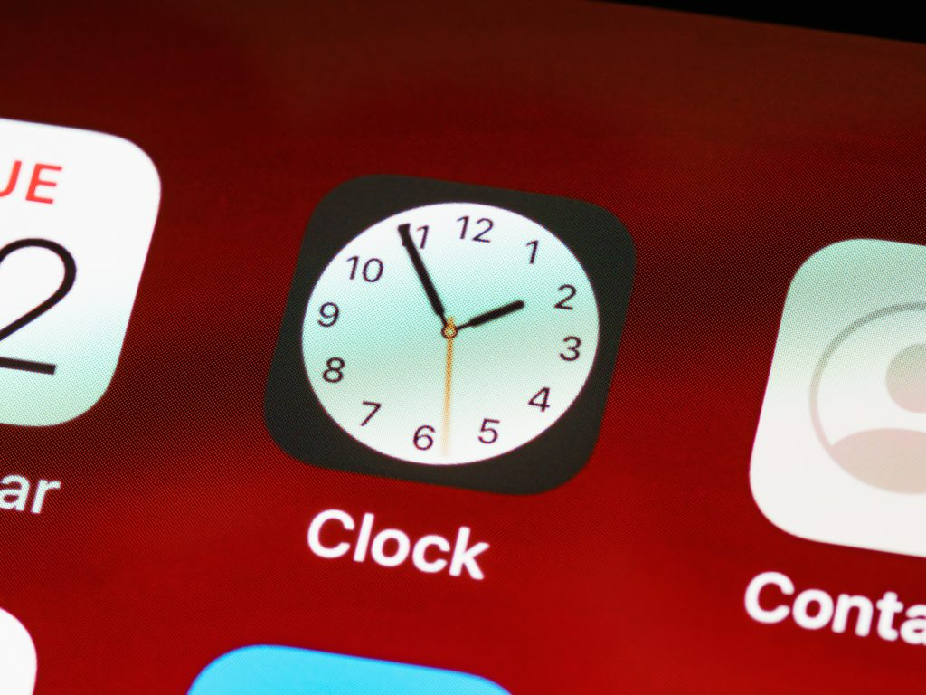 Close up view of the clock app on a smartphone